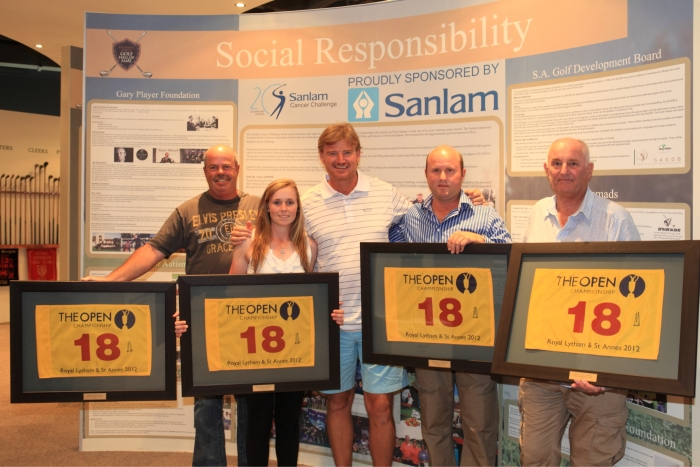 Brian Ireton - Lucky Draw Winner , Michaela Fletcher - 2012 Sanlam Cancer Challenge Overall Winner, Ernie Els - Champion of Hope,  Werner Ferreira- 2012 Sanlam Cancer Challenge Overall Winner, Pat Taylor - Lucky Draw Winner