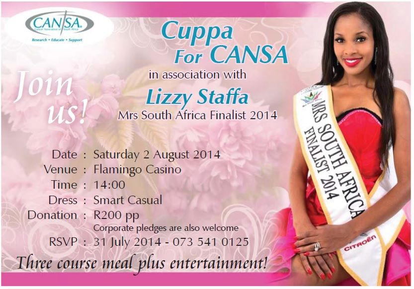 Lizzy Staffa Cuppa For CANSA Invitation
