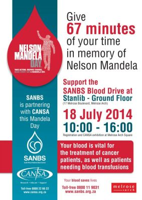 cansa supports sanbs blood drive nelson mandela