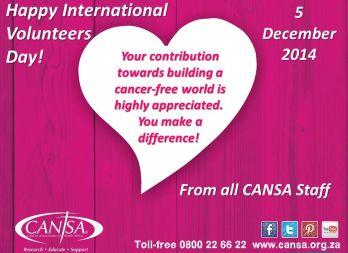 CANSA International Volunteers Day post
