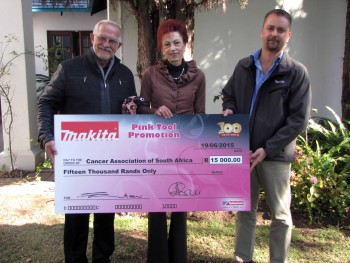 From Left to Right: Munnik Marais (CANSA Corporate Relations Manager), Elize Joubert (CANSA Acting CEO) and Jean-Pierre Du Plessis (Marketing Manager Makita Division)