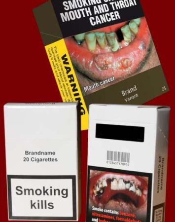 Plain packaging and graphic pictorial warning signs help reduce appeal...