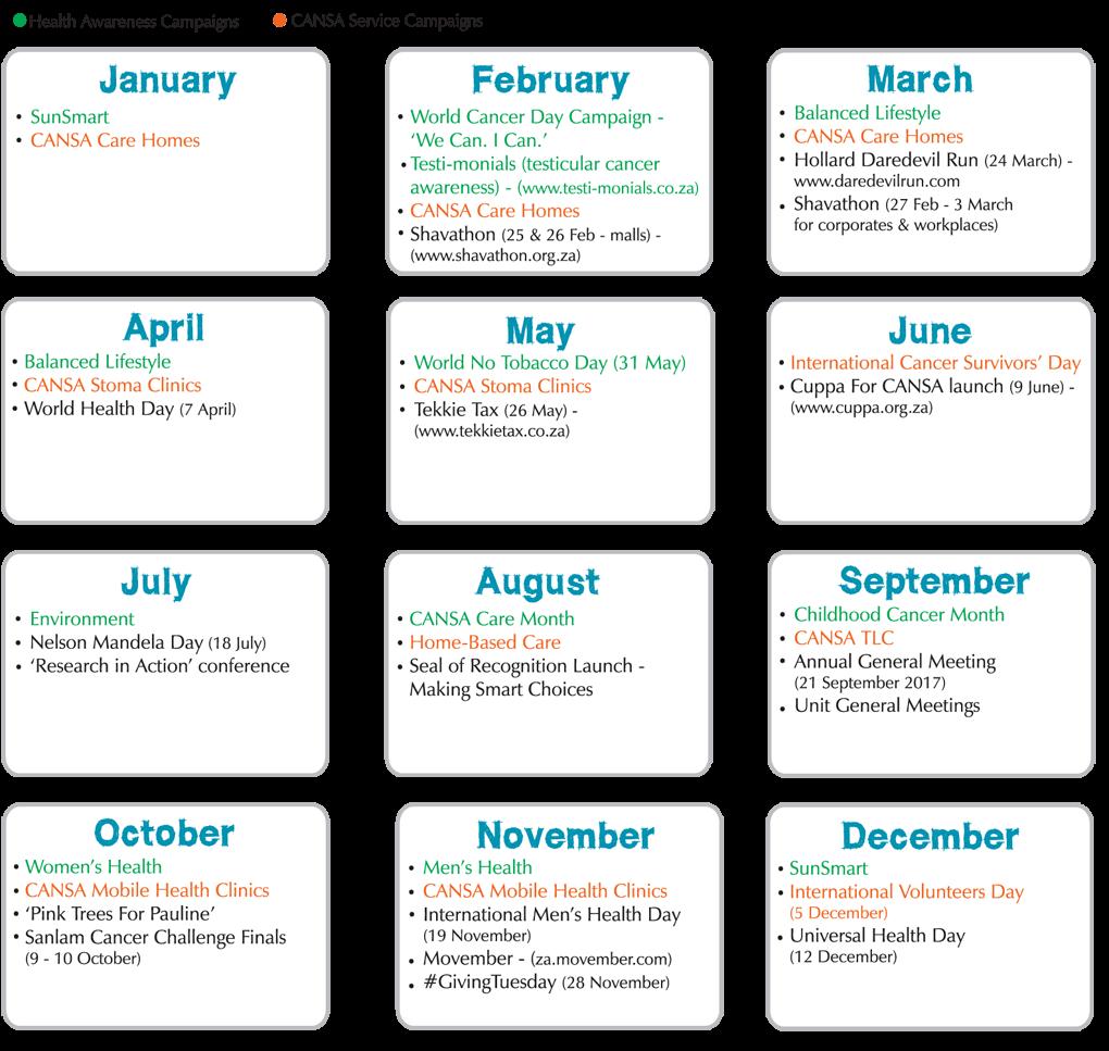 Cansa 2017 Calendar Cansa The Cancer Association Of South Africa